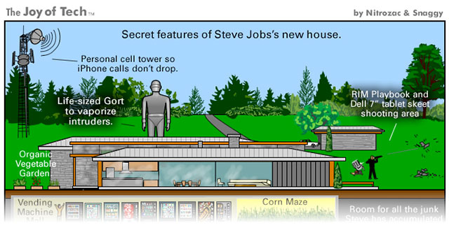 The Joy of Tech comic... Secret features of Steve Jobs's new house.