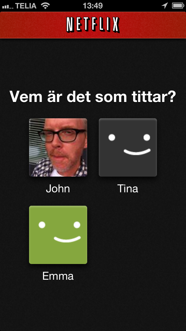 Netflix profiles iPhone