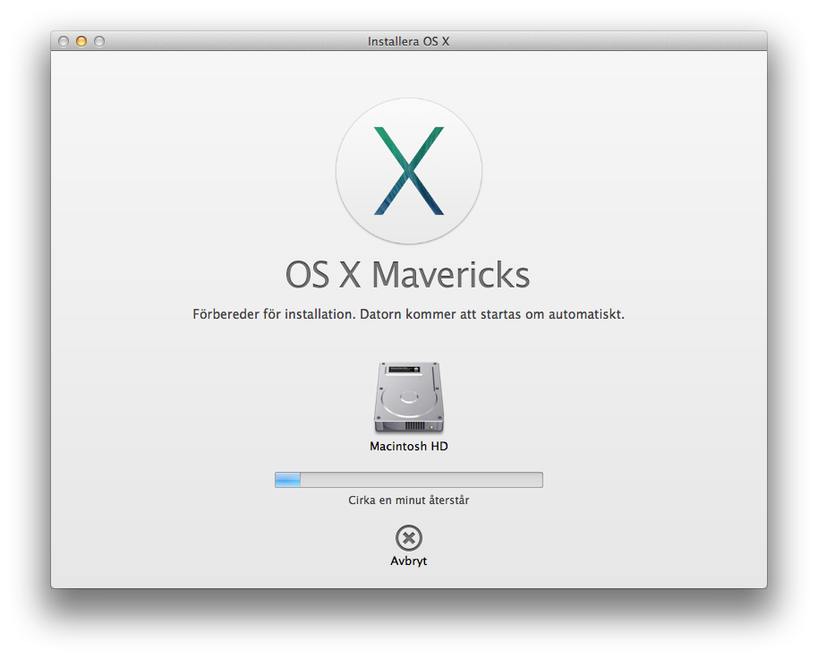 OS X Mavericks installation