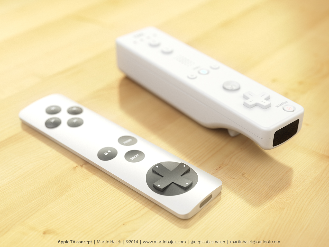 Apple TV koncept fjärrkontroll Nintendo Wiimote