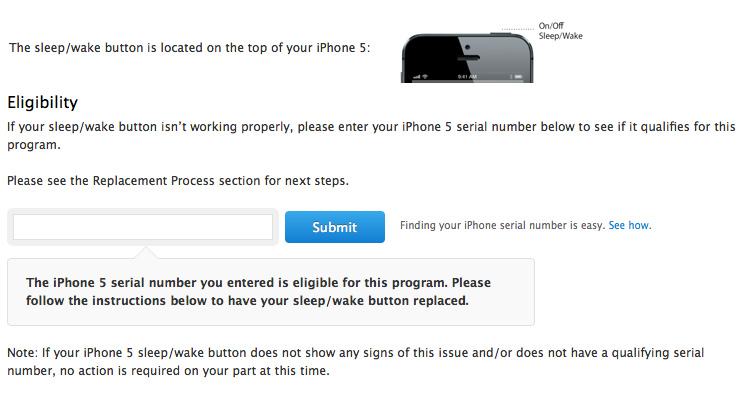 iPhone 5 Sleep/Wake Button Replacement Program