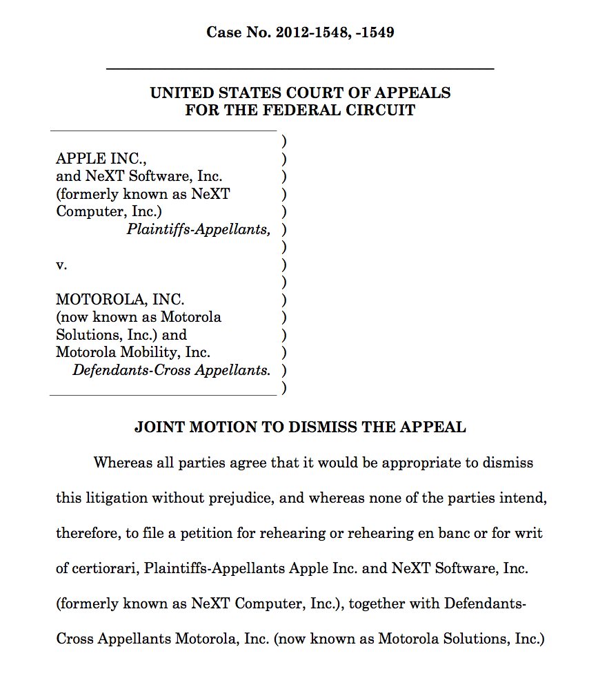 Apple-Google Agreement to Dismiss