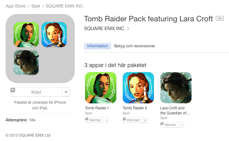 Tomb Raider Pack featuring Lara Croft - iTunes App Store