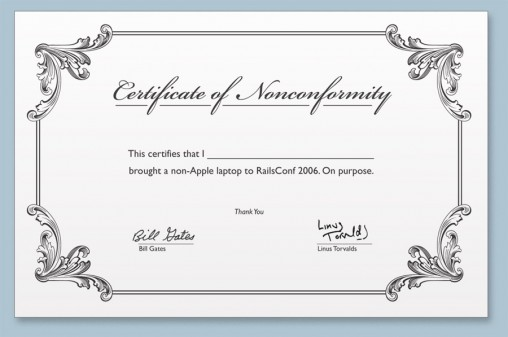 The Certificate of Nonconformity