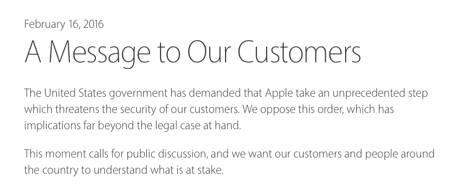Apple Customer Letter