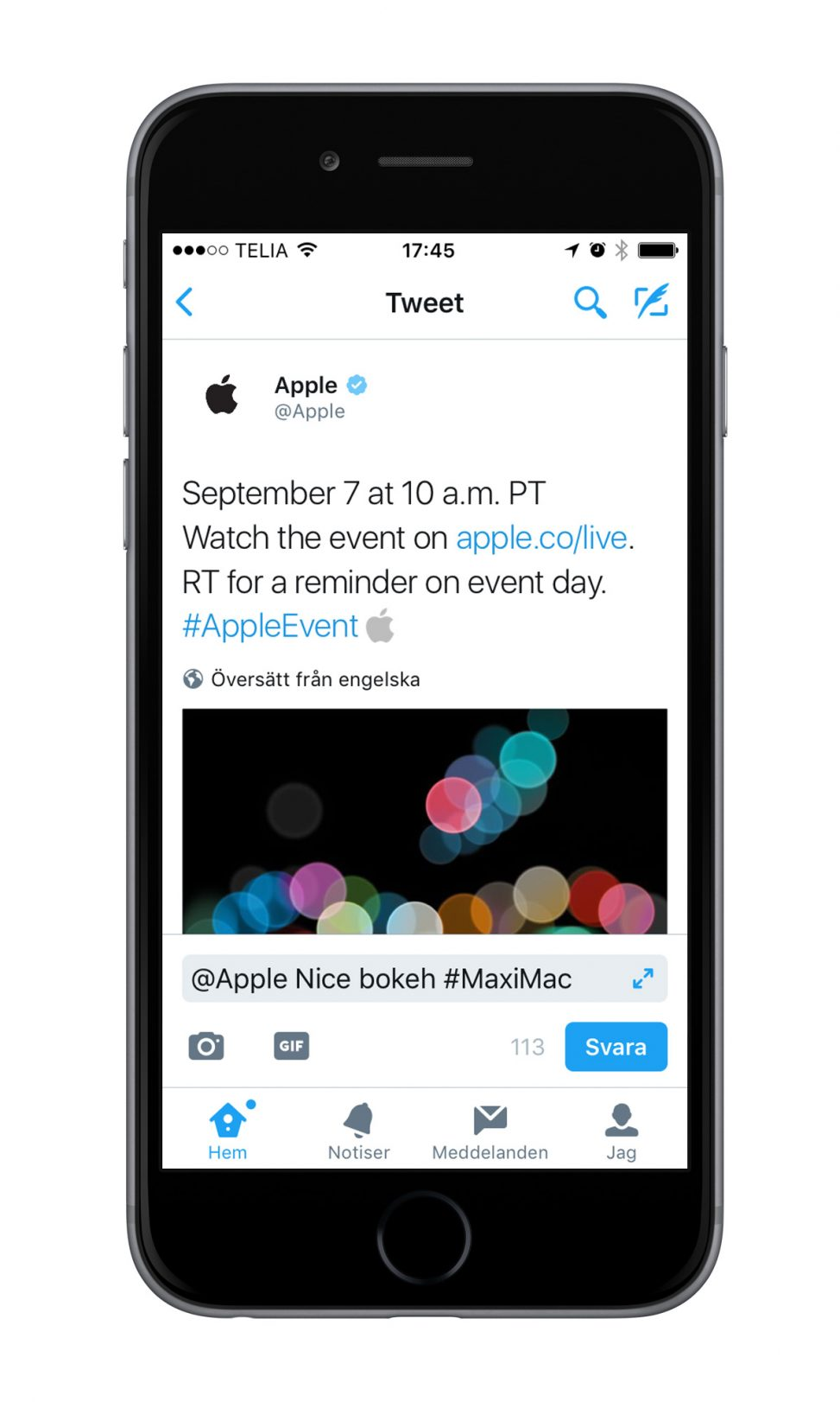 Apple event tweet
