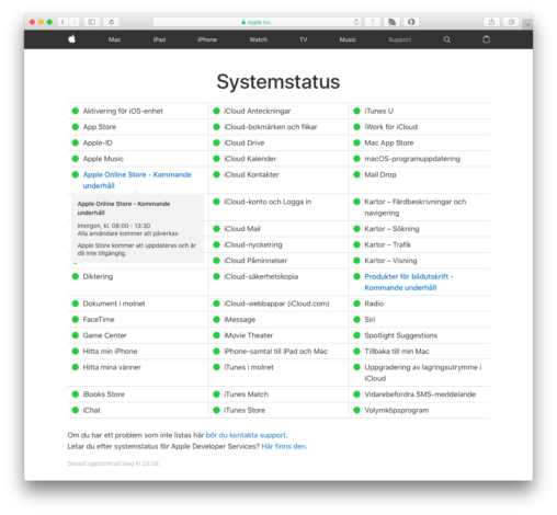 Apple Systemstatus
