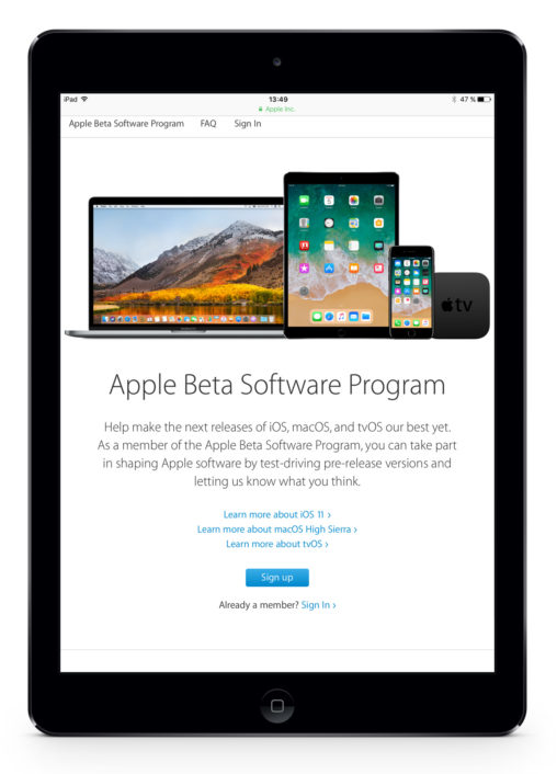 iPad Air Apple beta program