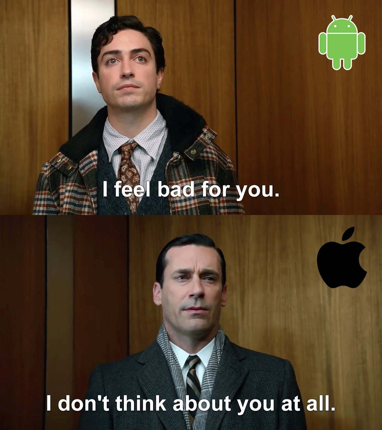 iPhone slays Android Mad Men meme