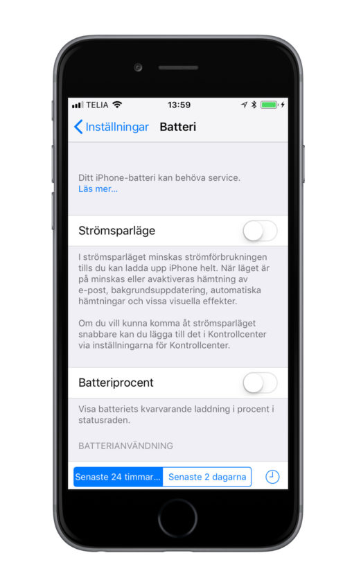 iPhone 6 batterivarning